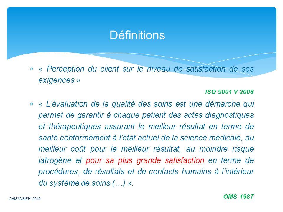 « Perception du client sur le niveau de satisfaction de ses exigences » ISO 9001 V 2008 « Lévaluation de la qualité des soins est une démarche qui per