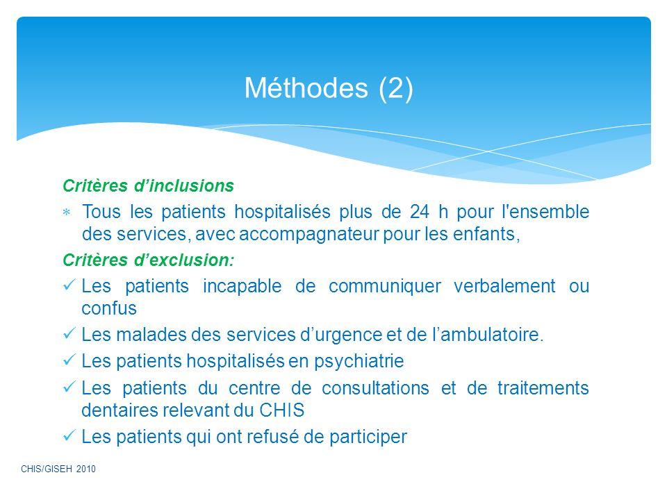 Critères dinclusions Tous les patients hospitalisés plus de 24 h pour l'ensemble des services, avec accompagnateur pour les enfants, Critères dexclusi