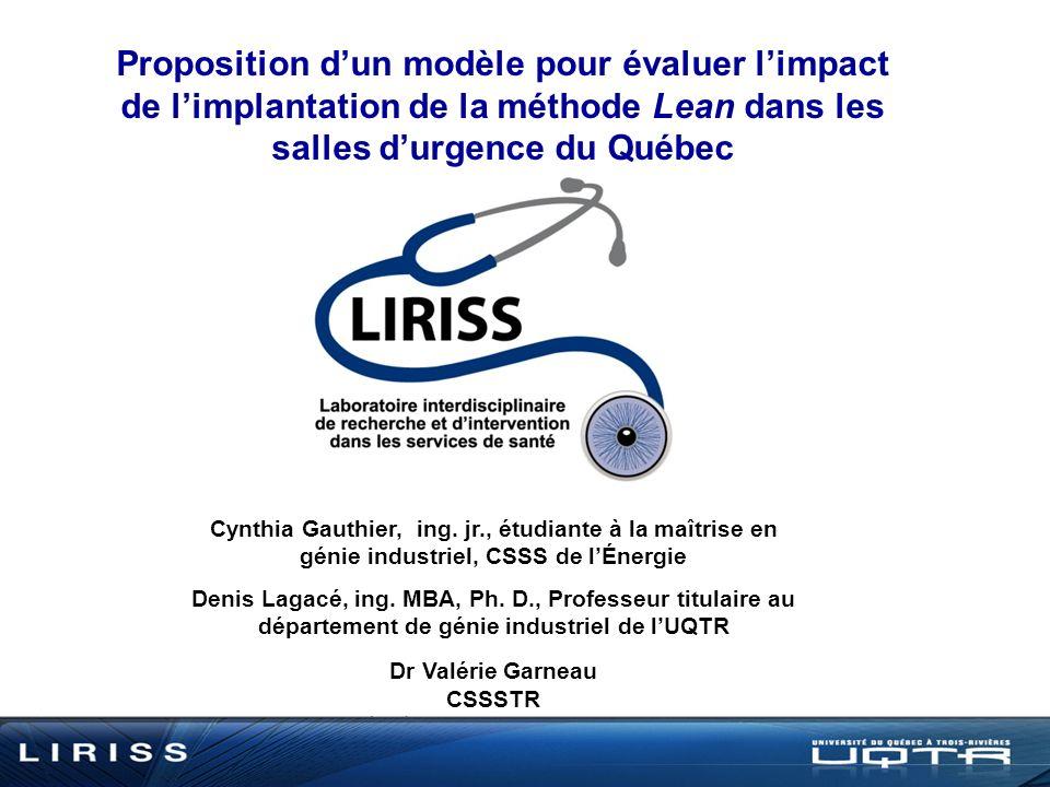 Proposition dun modèle pour évaluer limpact de limplantation de la méthode Lean dans les salles durgence du Québec Cynthia Gauthier, ing.