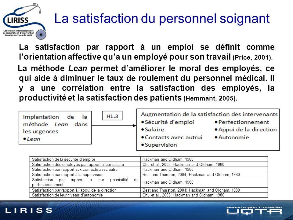 La satisfaction du personnel soignant La satisfaction par rapport à un emploi se définit comme lorientation affective qua un employé pour son travail (Price, 2001).