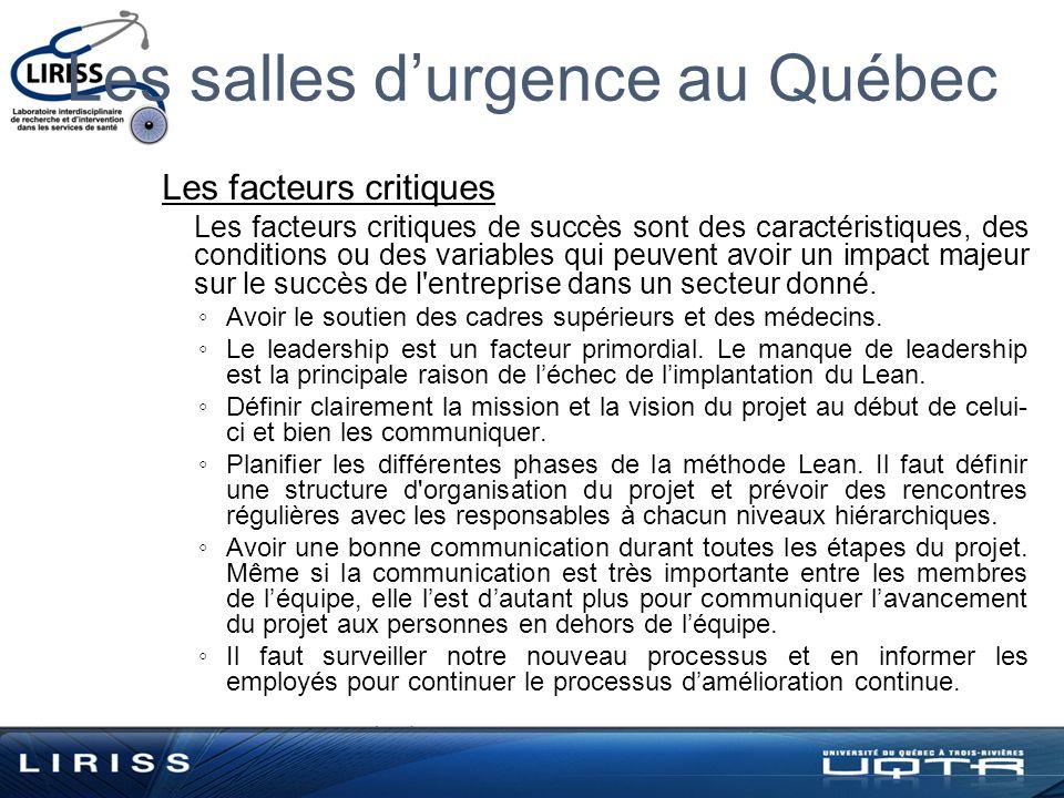 Les salles durgence au Québec Les facteurs critiques Les facteurs critiques de succès sont des caractéristiques, des conditions ou des variables qui peuvent avoir un impact majeur sur le succès de l entreprise dans un secteur donné.