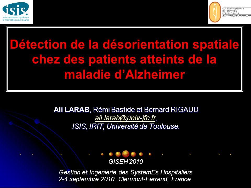 Détection de la désorientation spatiale chez des patients atteints de la maladie dAlzheimer Ali LARAB, Rémi Bastide et Bernard RIGAUD, ali.larab@univ-