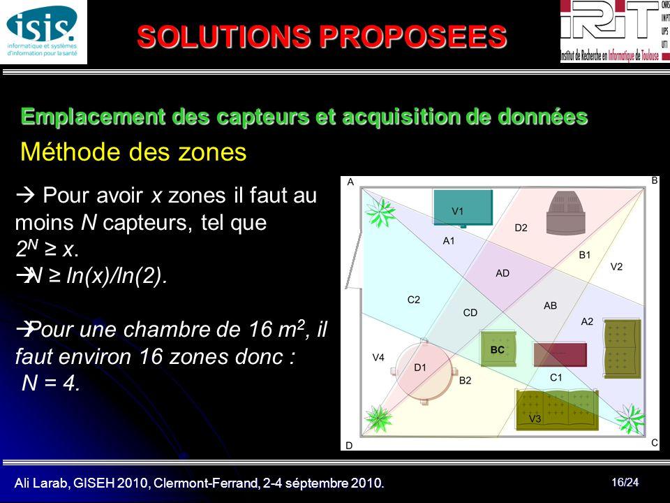 Ali Larab, GISEH 2010, Clermont-Ferrand, 2-4 séptembre 2010. 16/24 SOLUTIONS PROPOSEES Emplacement des capteurs et acquisition de données Méthode des