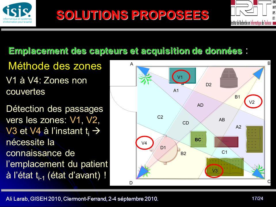 Ali Larab, GISEH 2010, Clermont-Ferrand, 2-4 séptembre 2010. 17/24 SOLUTIONS PROPOSEES Emplacement des capteurs et acquisition de données Emplacement