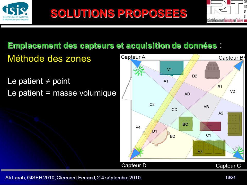 Ali Larab, GISEH 2010, Clermont-Ferrand, 2-4 séptembre 2010. 18/24 SOLUTIONS PROPOSEES Emplacement des capteurs et acquisition de données Emplacement