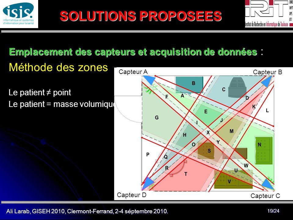 Ali Larab, GISEH 2010, Clermont-Ferrand, 2-4 séptembre 2010. 19/24 SOLUTIONS PROPOSEES Emplacement des capteurs et acquisition de données Emplacement