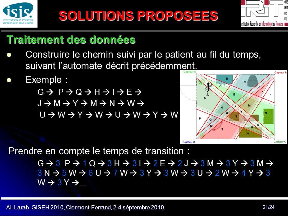 Ali Larab, GISEH 2010, Clermont-Ferrand, 2-4 séptembre 2010. 21/24 SOLUTIONS PROPOSEES Traitement des données Construire le chemin suivi par le patien
