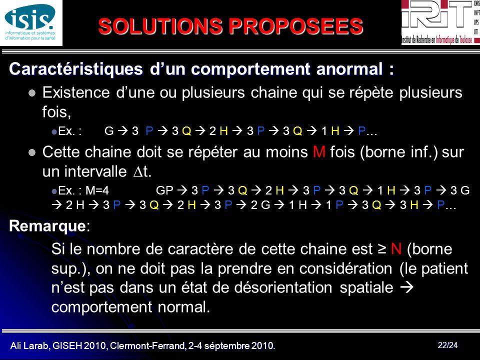 Ali Larab, GISEH 2010, Clermont-Ferrand, 2-4 séptembre 2010. 22/24 SOLUTIONS PROPOSEES Caractéristiques dun comportement anormal : Existence dune ou p