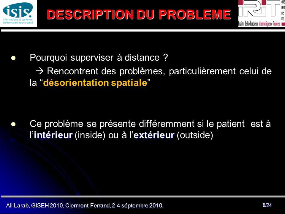 Ali Larab, GISEH 2010, Clermont-Ferrand, 2-4 séptembre 2010. 8/24 Pourquoi superviser à distance ? Rencontrent des problèmes, particulièrement celui d