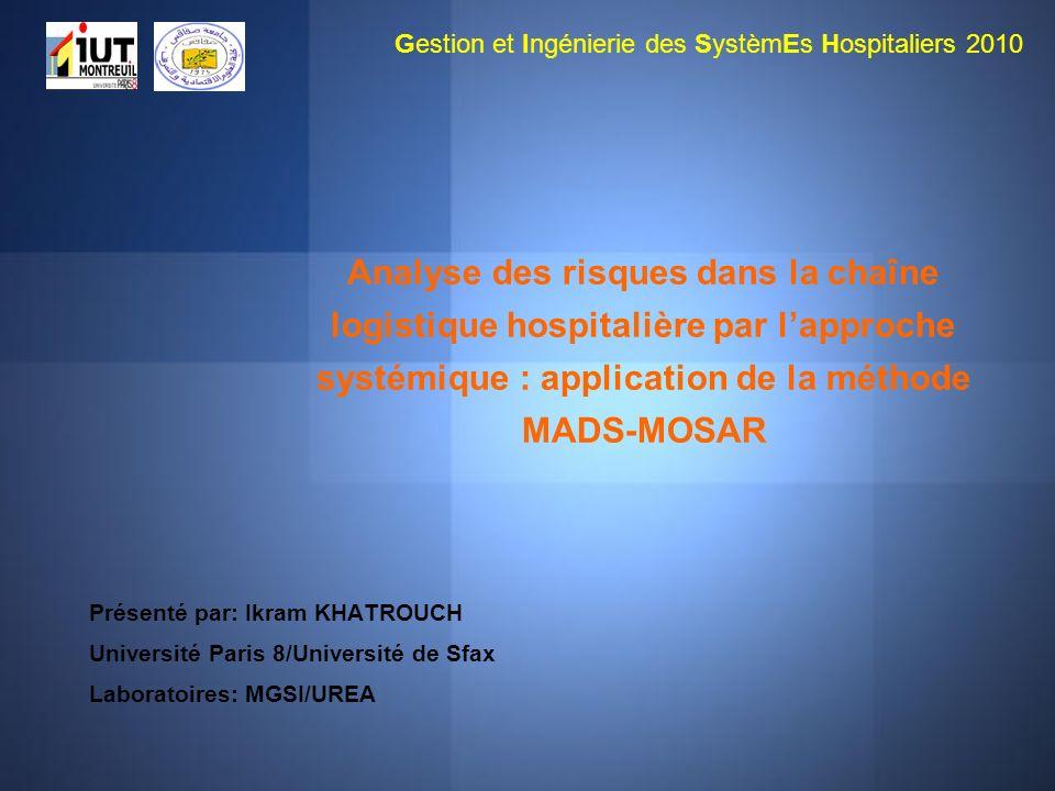 Analyse des risques dans la chaîne logistique hospitalière par lapproche systémique : application de la méthode MADS-MOSAR Présenté par: Ikram KHATROU