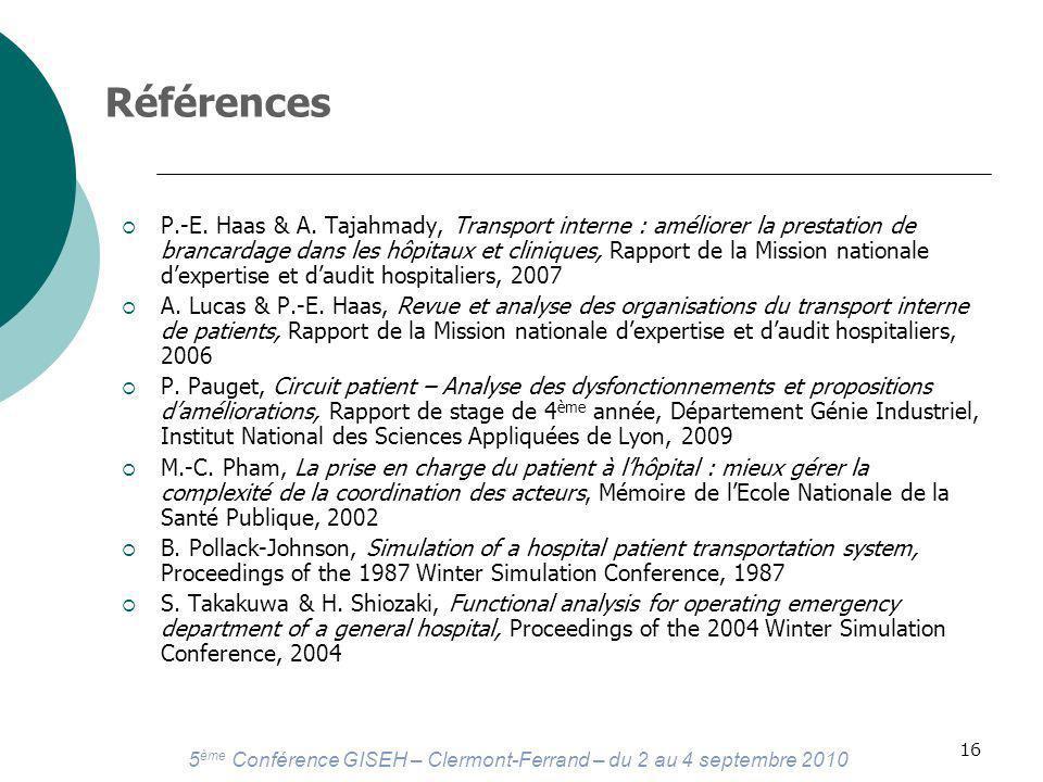 5 ème Conférence GISEH – Clermont-Ferrand – du 2 au 4 septembre 2010 16 Références P.-E.