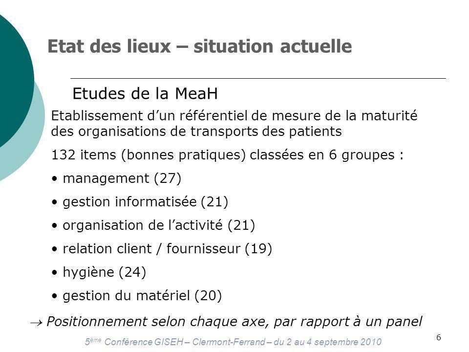 5 ème Conférence GISEH – Clermont-Ferrand – du 2 au 4 septembre 2010 6 Etat des lieux – situation actuelle Etudes de la MeaH Etablissement dun référentiel de mesure de la maturité des organisations de transports des patients 132 items (bonnes pratiques) classées en 6 groupes : management (27) gestion informatisée (21) organisation de lactivité (21) relation client / fournisseur (19) hygiène (24) gestion du matériel (20) Positionnement selon chaque axe, par rapport à un panel