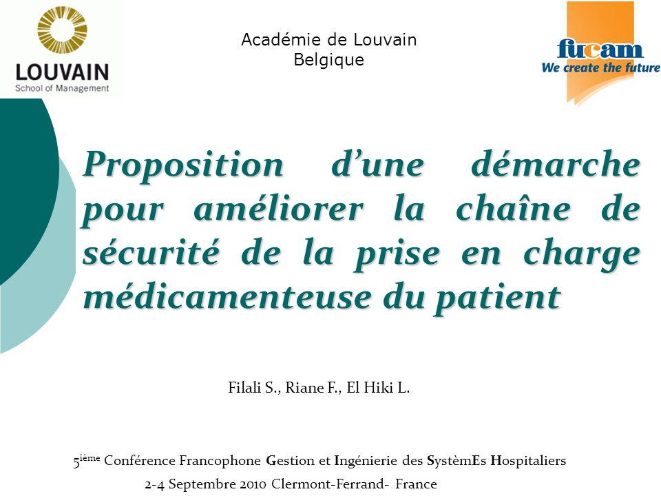 Proposition dune démarche pour améliorer la chaîne de sécurité de la prise en charge médicamenteuse du patient Académie de Louvain Belgique Filali S.,