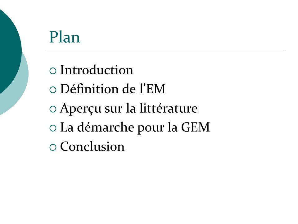 Plan Introduction Définition de lEM Aperçu sur la littérature La démarche pour la GEM Conclusion