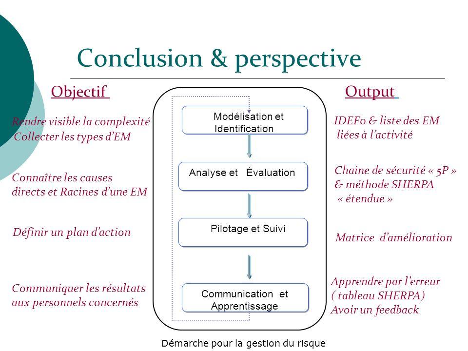 Conclusion & perspective Analyse et Évaluation Pilotage et Suivi Communication et Apprentissage Modélisation et Identification Démarche pour la gestio