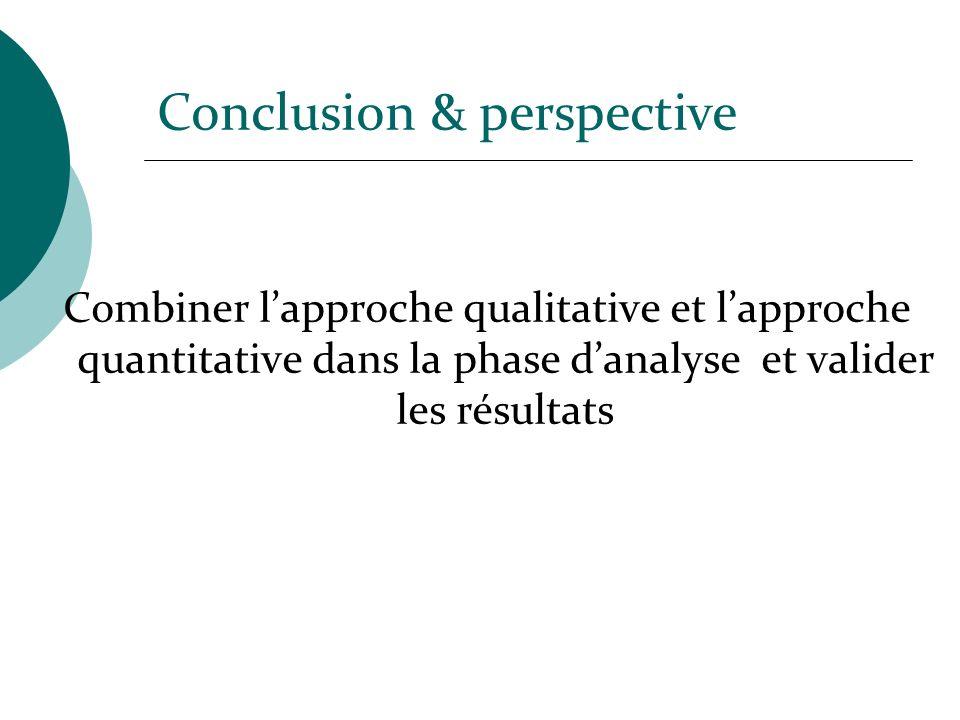 Combiner lapproche qualitative et lapproche quantitative dans la phase danalyse et valider les résultats Conclusion & perspective