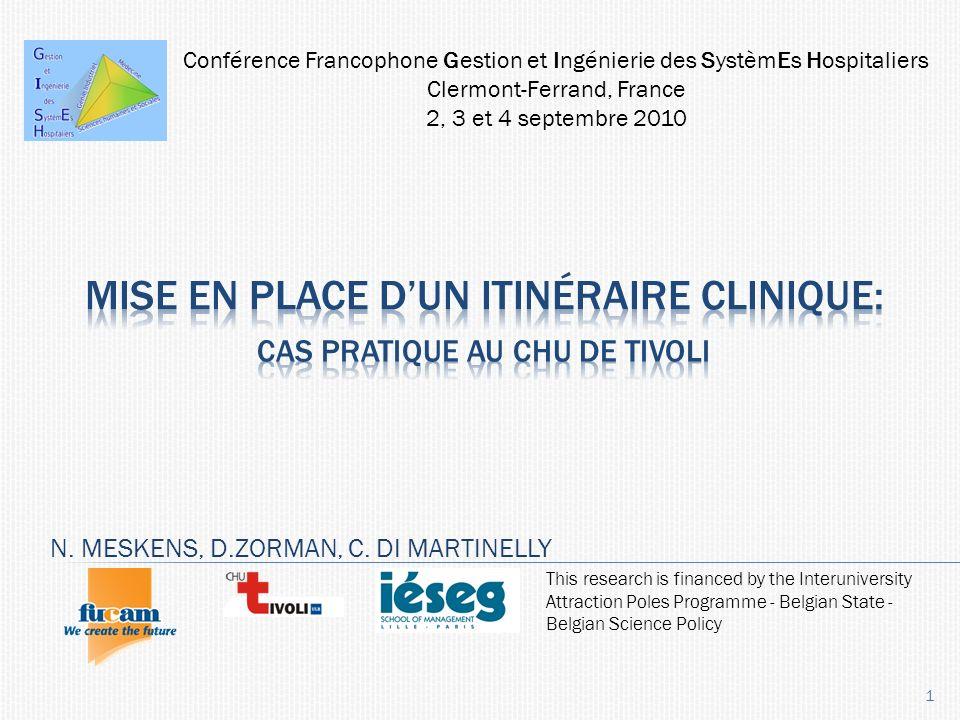 Introduction Méthodologie Programme de soins JOINT CARE Application au CHU Tivoli En bref…. 2