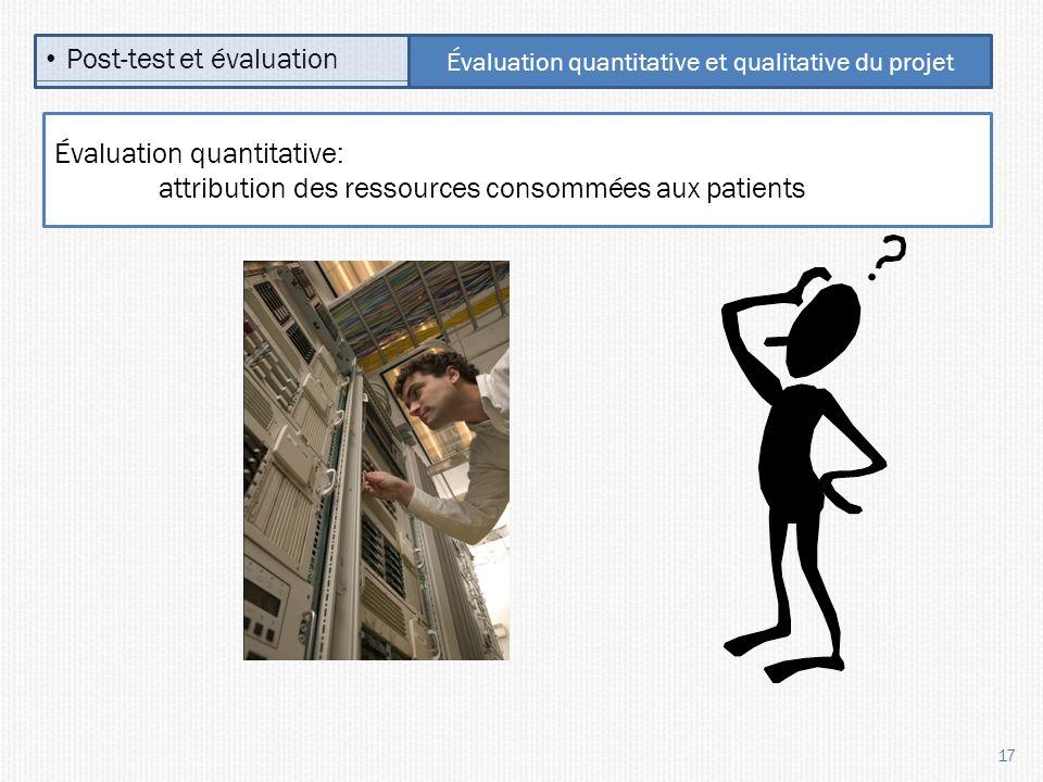 17 Post-test et évaluation Évaluation quantitative et qualitative du projet Évaluation quantitative: attribution des ressources consommées aux patients