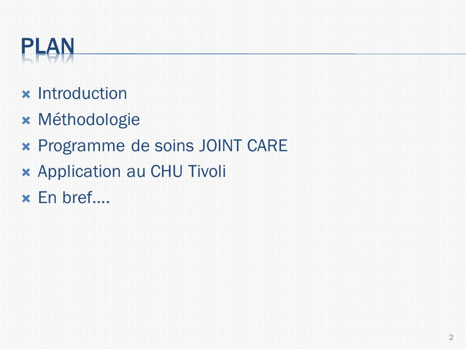 Introduction Méthodologie Programme de soins JOINT CARE Application au CHU Tivoli En bref…. 2