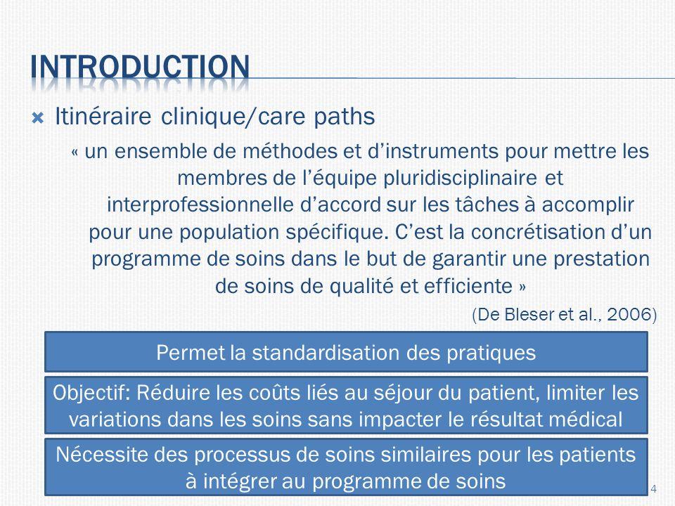 Itinéraire clinique/care paths « un ensemble de méthodes et dinstruments pour mettre les membres de léquipe pluridisciplinaire et interprofessionnelle daccord sur les tâches à accomplir pour une population spécifique.