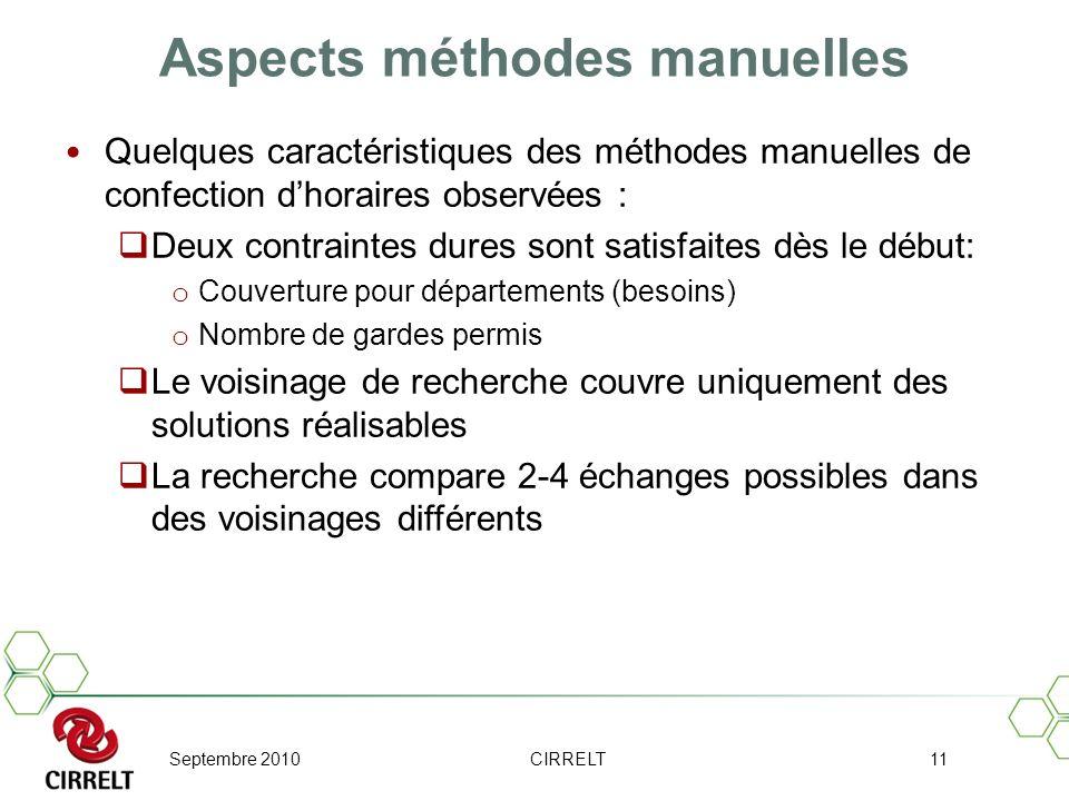 Septembre 2010CIRRELT11 Aspects méthodes manuelles Quelques caractéristiques des méthodes manuelles de confection dhoraires observées : Deux contraint