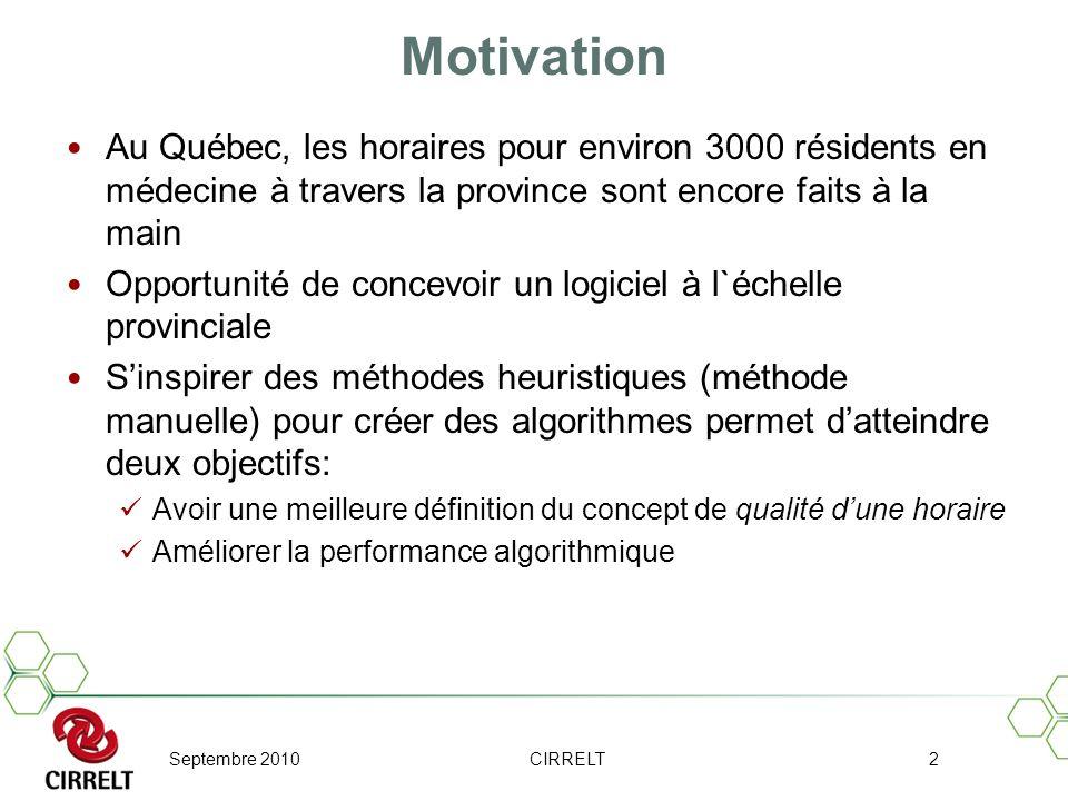 Septembre 2010CIRRELT2 Motivation Au Québec, les horaires pour environ 3000 résidents en médecine à travers la province sont encore faits à la main Op