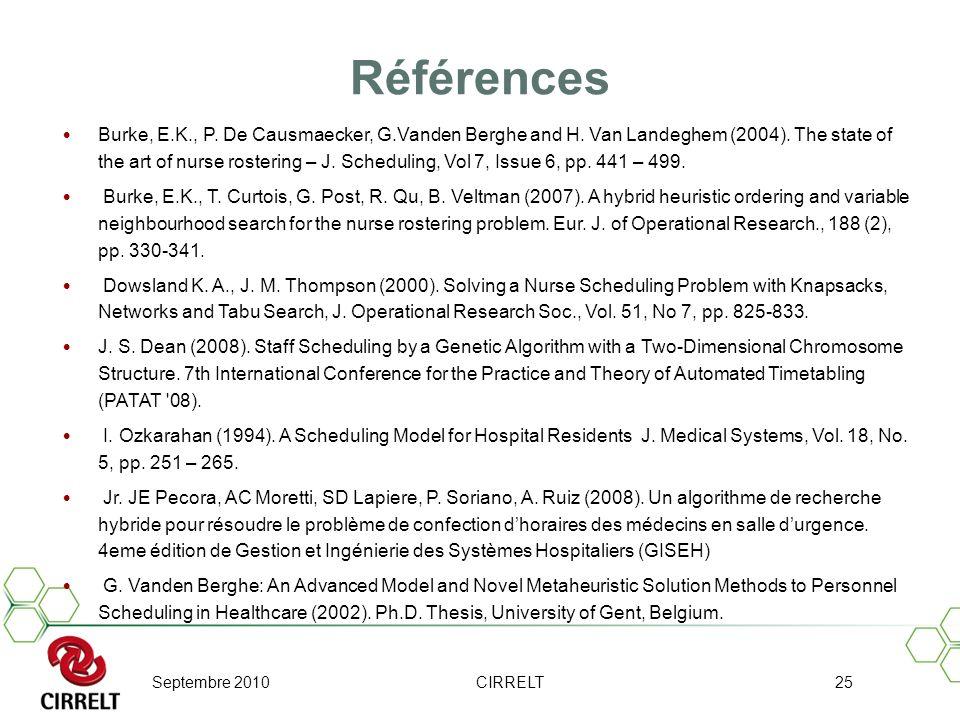 Septembre 2010CIRRELT25 Références Burke, E.K., P. De Causmaecker, G.Vanden Berghe and H. Van Landeghem (2004). The state of the art of nurse rosterin