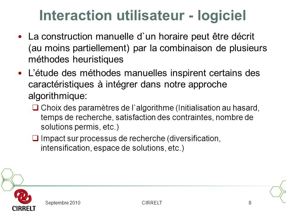 Septembre 2010CIRRELT8 Interaction utilisateur - logiciel La construction manuelle d`un horaire peut être décrit (au moins partiellement) par la combi