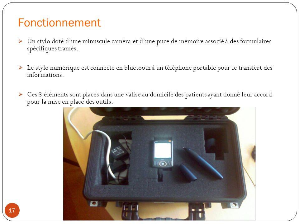 Fonctionnement Un stylo doté dune minuscule caméra et dune puce de mémoire associé à des formulaires spécifiques tramés. Le stylo numérique est connec