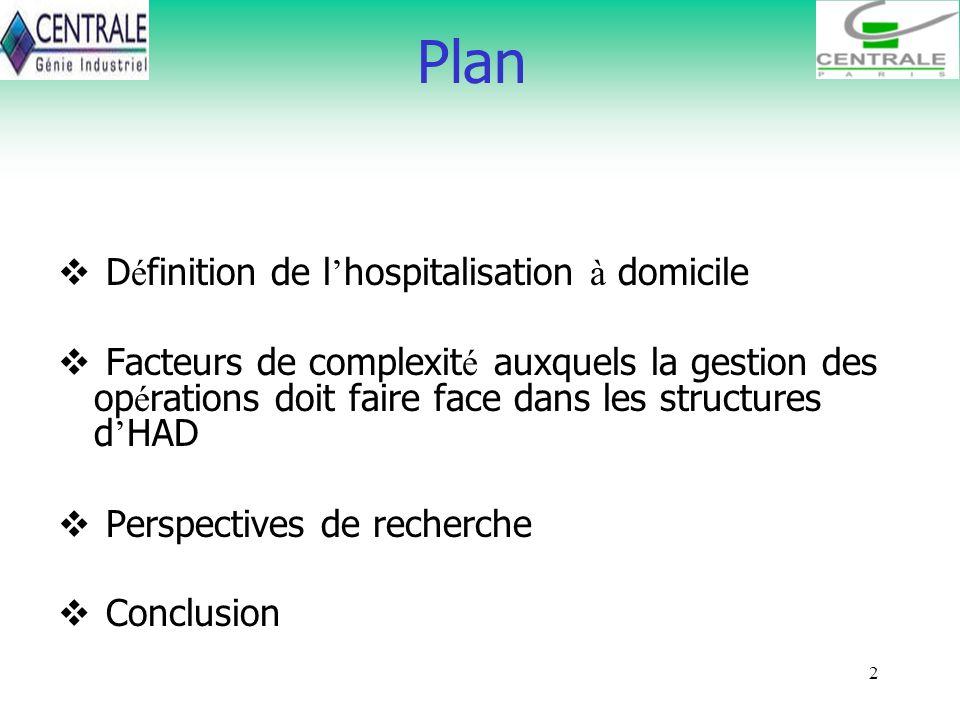 2 D é finition de l hospitalisation à domicile Facteurs de complexit é auxquels la gestion des op é rations doit faire face dans les structures d HAD