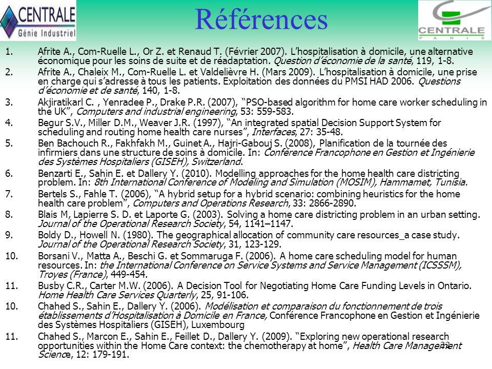 22 Références 1.Afrite A., Com-Ruelle L., Or Z. et Renaud T. (Février 2007). Lhospitalisation à domicile, une alternative économique pour les soins de