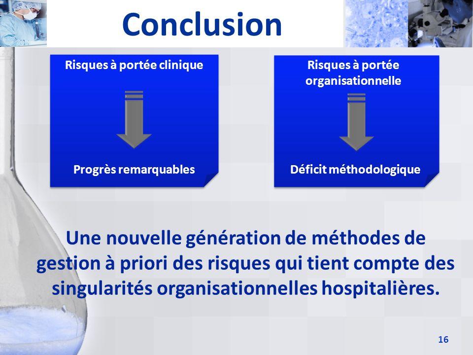 16 Conclusion Risques à portée clinique Risques à portée organisationnelle Une nouvelle génération de méthodes de gestion à priori des risques qui tie