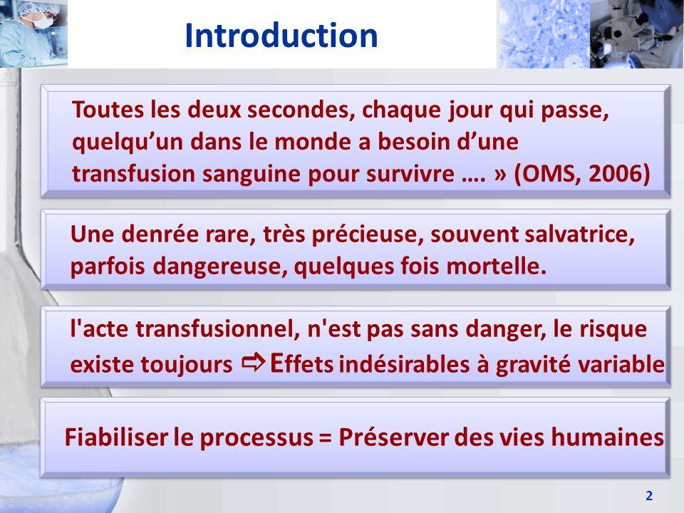 2 Introduction Toutes les deux secondes, chaque jour qui passe, quelquun dans le monde a besoin dune transfusion sanguine pour survivre …. » (OMS, 200