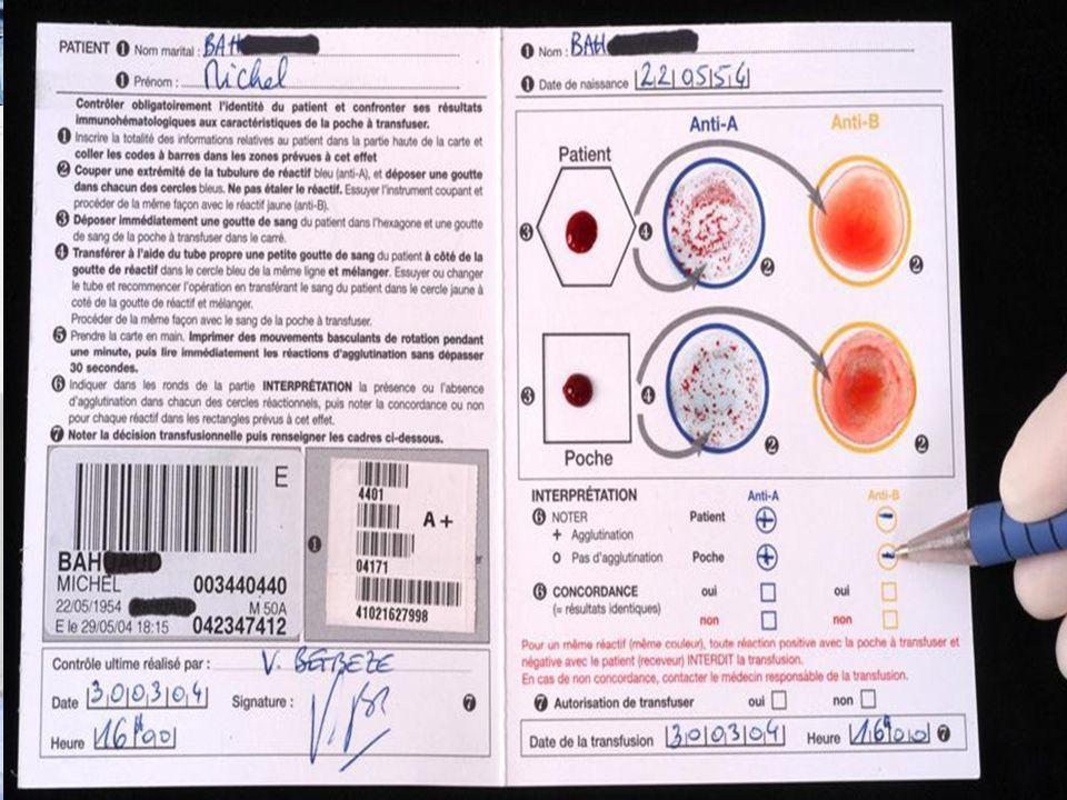 Erreurs dattribution des produits. 67% des erreurs de transfusion. ProbabilitéSolution (s) 67% des erreurs de transfusion Carte de contrôle pré transf