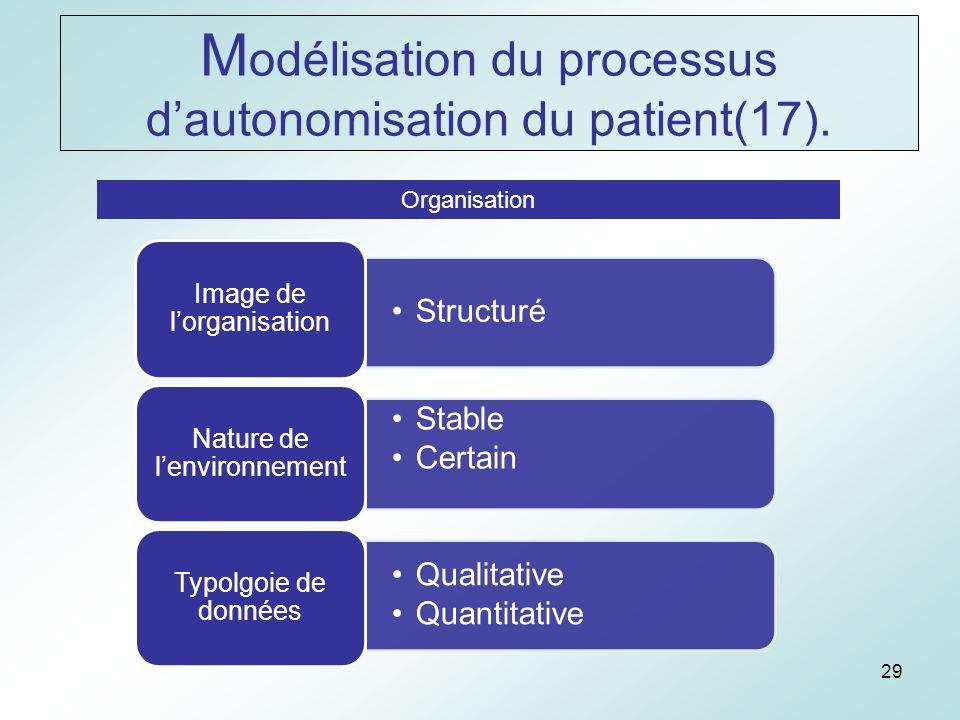 29 Organisation Structuré Image de lorganisation Stable Certain Nature de lenvironnement Qualitative Quantitative Typolgoie de données M odélisation du processus dautonomisation du patient(17).