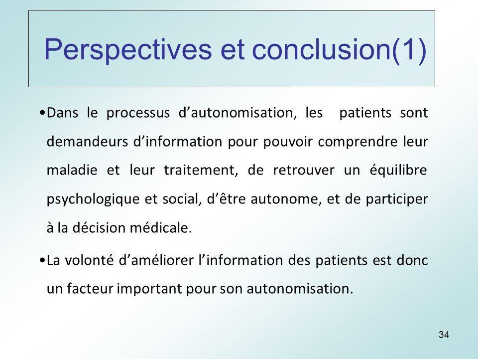34 Perspectives et conclusion(1) Dans le processus dautonomisation, les patients sont demandeurs dinformation pour pouvoir comprendre leur maladie et leur traitement, de retrouver un équilibre psychologique et social, dêtre autonome, et de participer à la décision médicale.