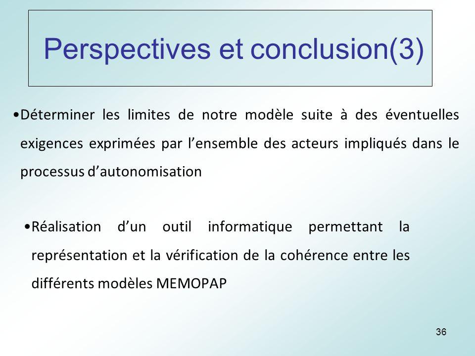 36 Perspectives et conclusion(3) Déterminer les limites de notre modèle suite à des éventuelles exigences exprimées par lensemble des acteurs impliqués dans le processus dautonomisation Réalisation dun outil informatique permettant la représentation et la vérification de la cohérence entre les différents modèles MEMOPAP