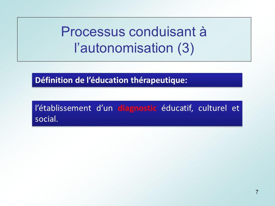 7 Processus conduisant à lautonomisation (3) Définition de léducation thérapeutique: létablissement dun diagnostic éducatif, culturel et social.