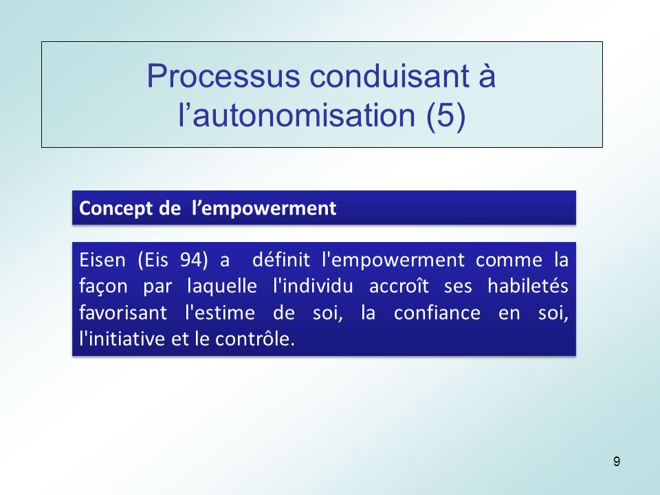 9 Processus conduisant à lautonomisation (5) Concept de lempowerment Eisen (Eis 94) a définit l empowerment comme la façon par laquelle l individu accroît ses habiletés favorisant l estime de soi, la confiance en soi, l initiative et le contrôle.