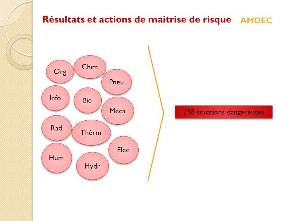 Elec Méca Thérm Hydr Pneu Chim Rad Info Bio Org Hum 238 situations dangereuses Résultats et actions de maitrise de risque AMDEC