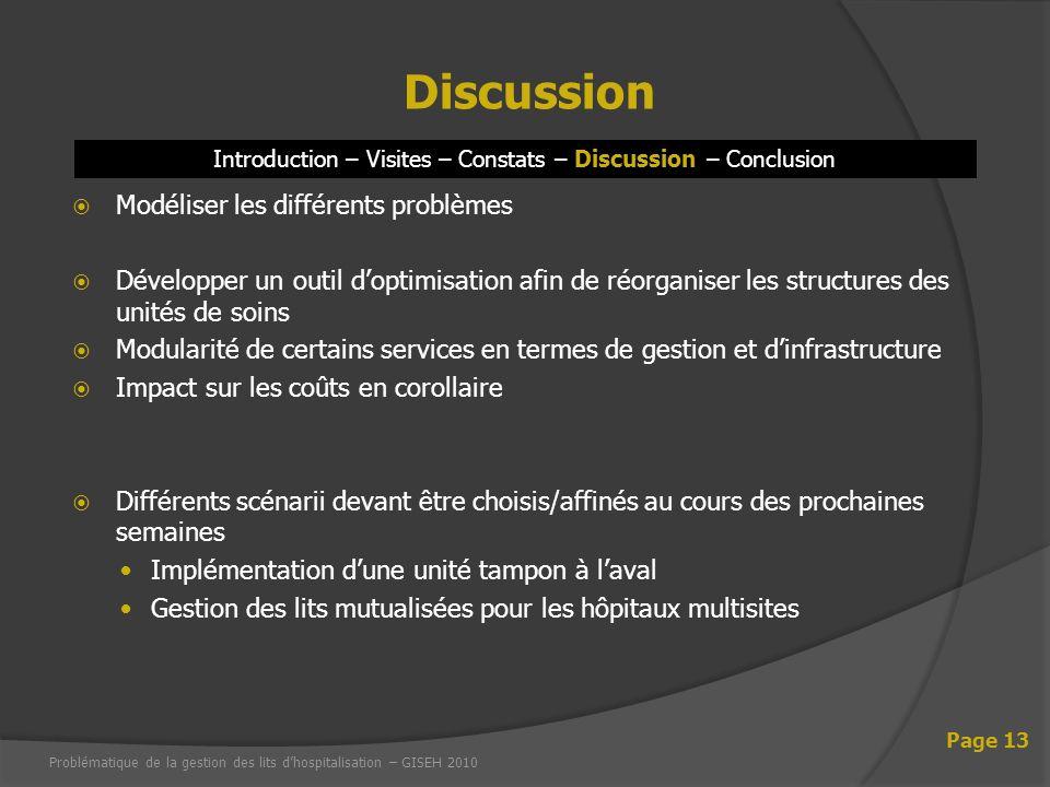 Modéliser les différents problèmes Développer un outil doptimisation afin de réorganiser les structures des unités de soins Modularité de certains ser