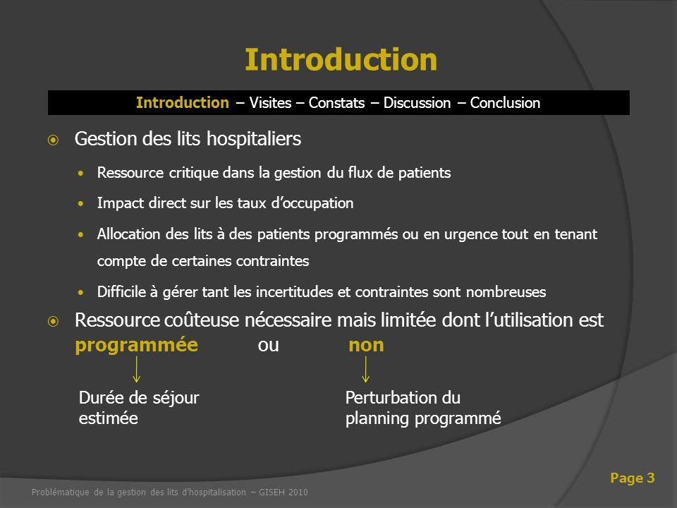 Introduction – Visites – Constats – Discussion – Conclusion Introduction Page 3 Gestion des lits hospitaliers Ressource critique dans la gestion du fl