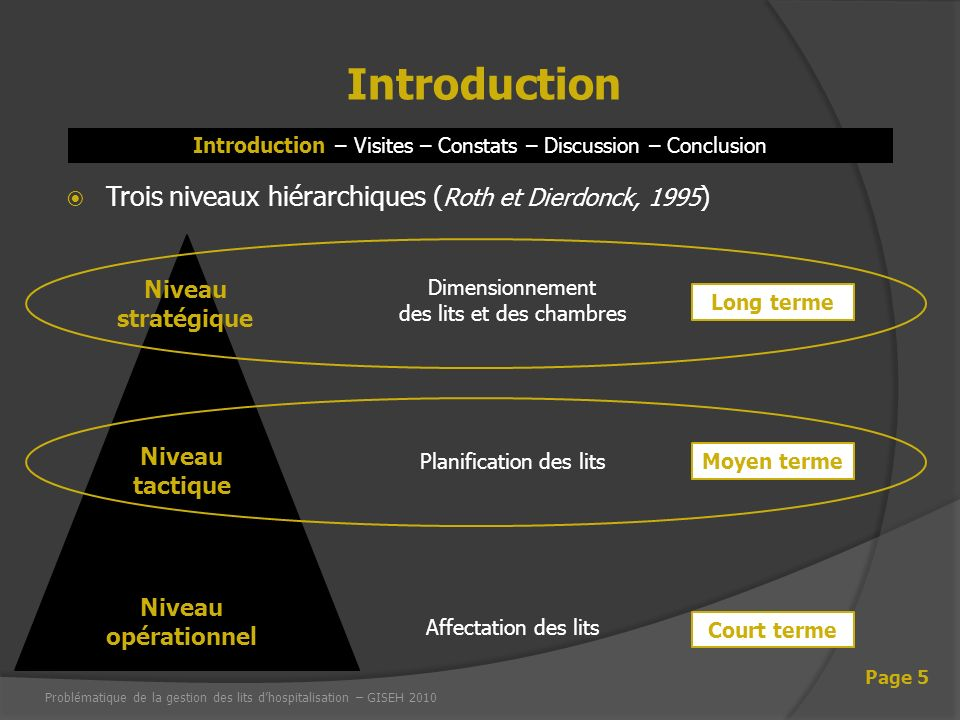 Introduction – Visites – Constats – Discussion – Conclusion Introduction Page 5 Trois niveaux hiérarchiques ( Roth et Dierdonck, 1995 ) Niveau stratég