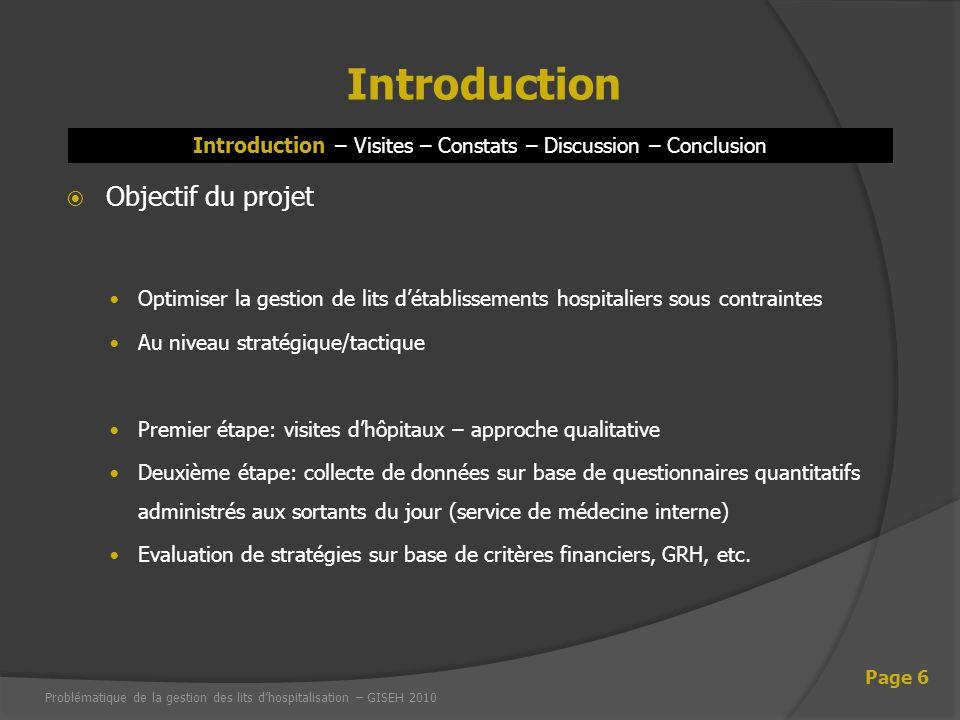 Introduction – Visites – Constats – Discussion – Conclusion Introduction Page 6 Objectif du projet Optimiser la gestion de lits détablissements hospit