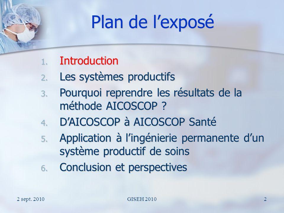 2 sept.2010GISEH 201013 Plan de lexposé 1. Introduction 2.