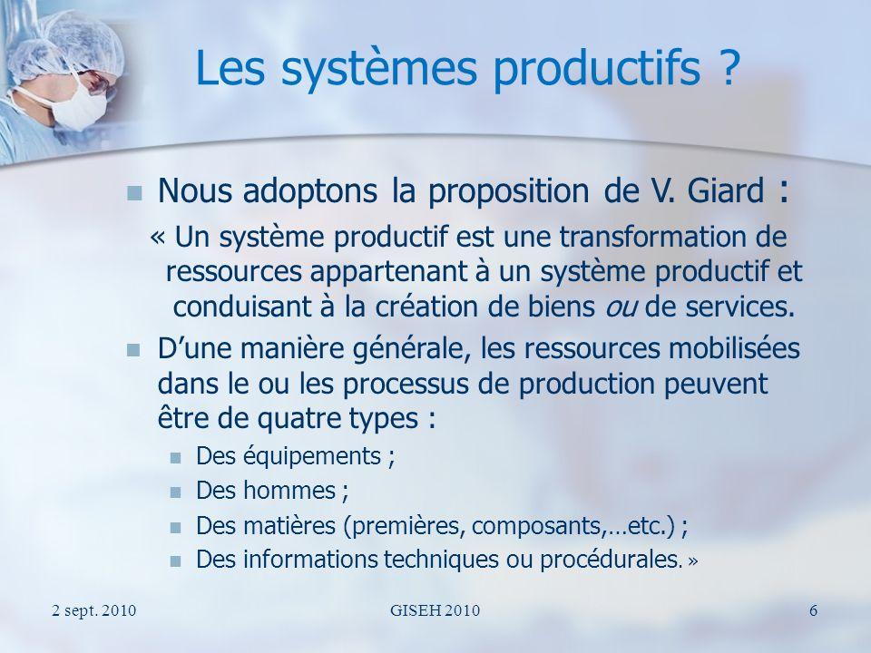 Les systèmes productifs de services La notion de service Les systèmes productifs de services Les systèmes productifs (de services) de soins 2 sept.