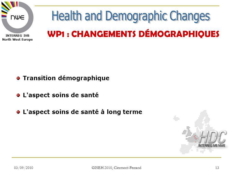 03/09/2010 GISEH 2010, Clermont-Ferrand 13 INTERREG IVB North West Europe WP1 : CHANGEMENTS DÉMOGRAPHIQUES Transition démographique L'aspect soins de