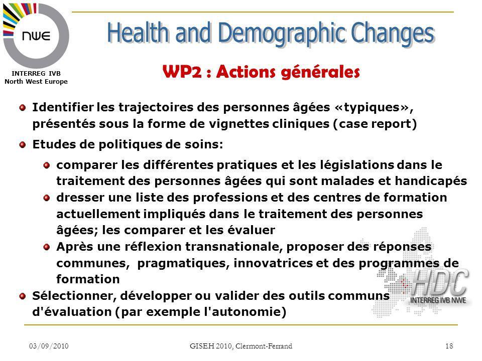 03/09/2010 GISEH 2010, Clermont-Ferrand 18 INTERREG IVB North West Europe WP2 : Actions générales Identifier les trajectoires des personnes âgées «typ