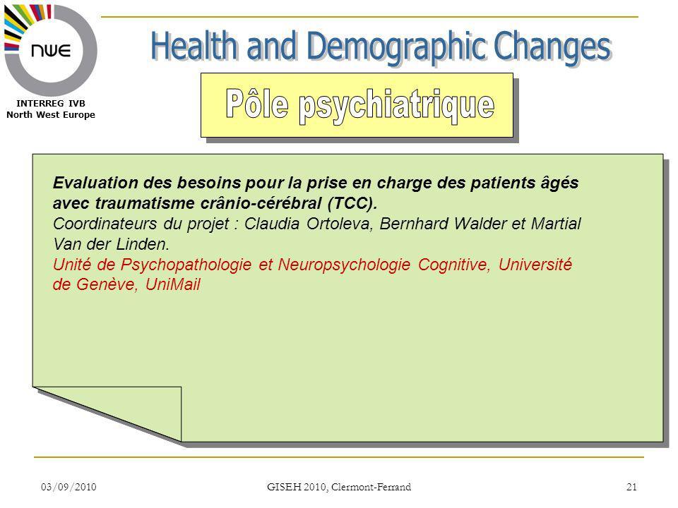 03/09/2010 GISEH 2010, Clermont-Ferrand 21 INTERREG IVB North West Europe Evaluation des besoins pour la prise en charge des patients âgés avec traumatisme crânio-cérébral (TCC).