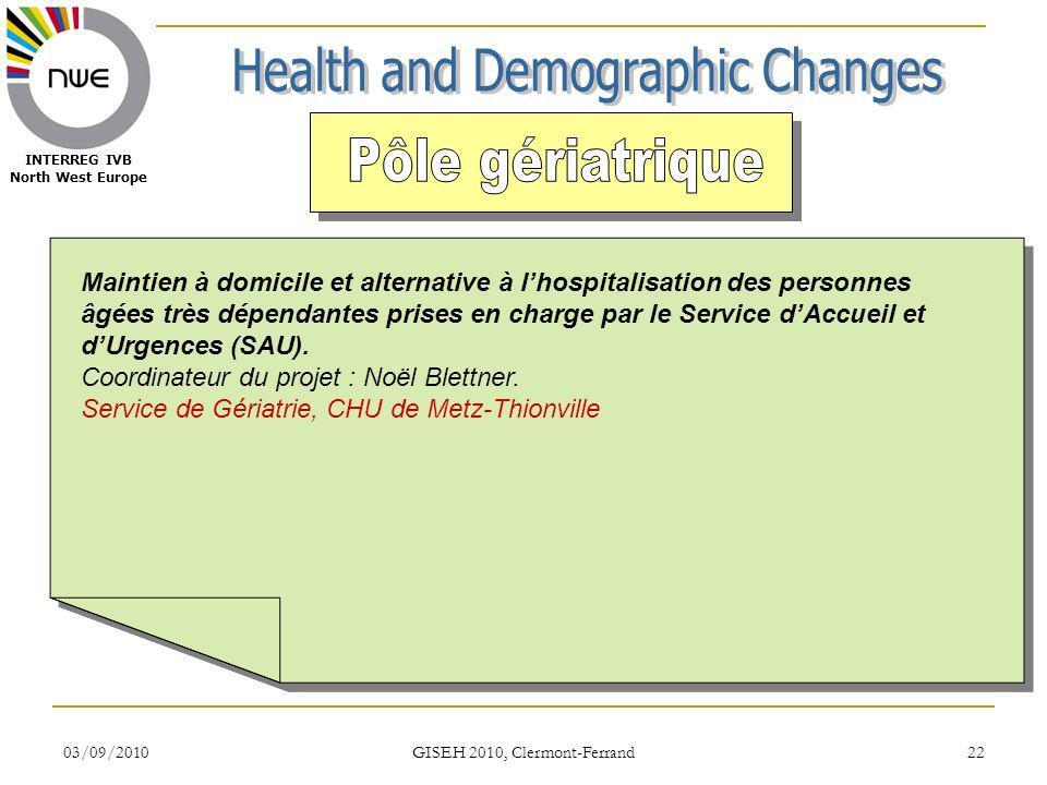 03/09/2010 GISEH 2010, Clermont-Ferrand 22 INTERREG IVB North West Europe Maintien à domicile et alternative à lhospitalisation des personnes âgées tr